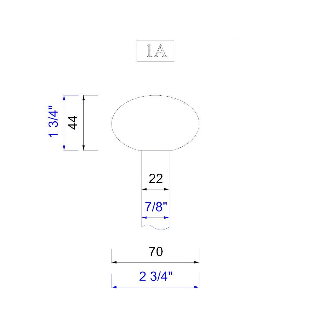 """Handrail profile 1 to suit 22mm or 7/8"""" spindles"""