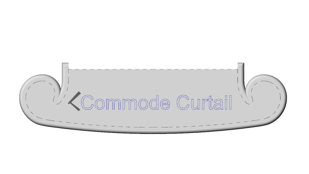 commode curtail tread. an ornate starting tread or step for any staircase.