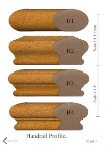 Handrail profiles H1 - H4 rendered in Oak
