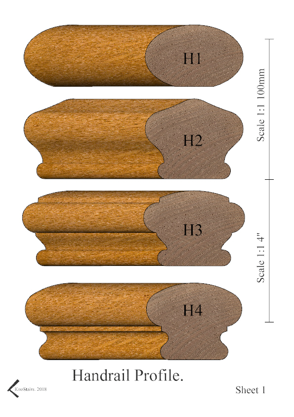 Handrail profiles H1 - H4 rendered in Oak