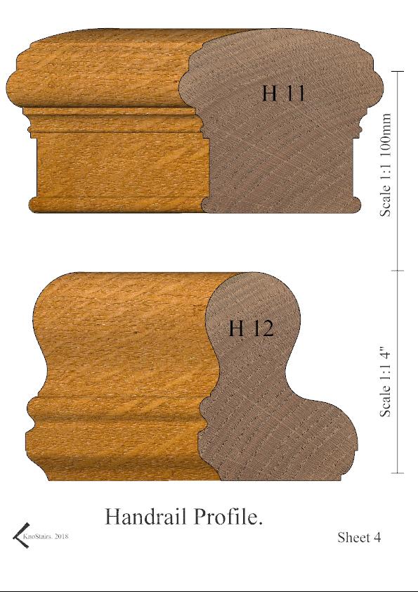 Handrail profiles H11 - H12 rendered in Oak