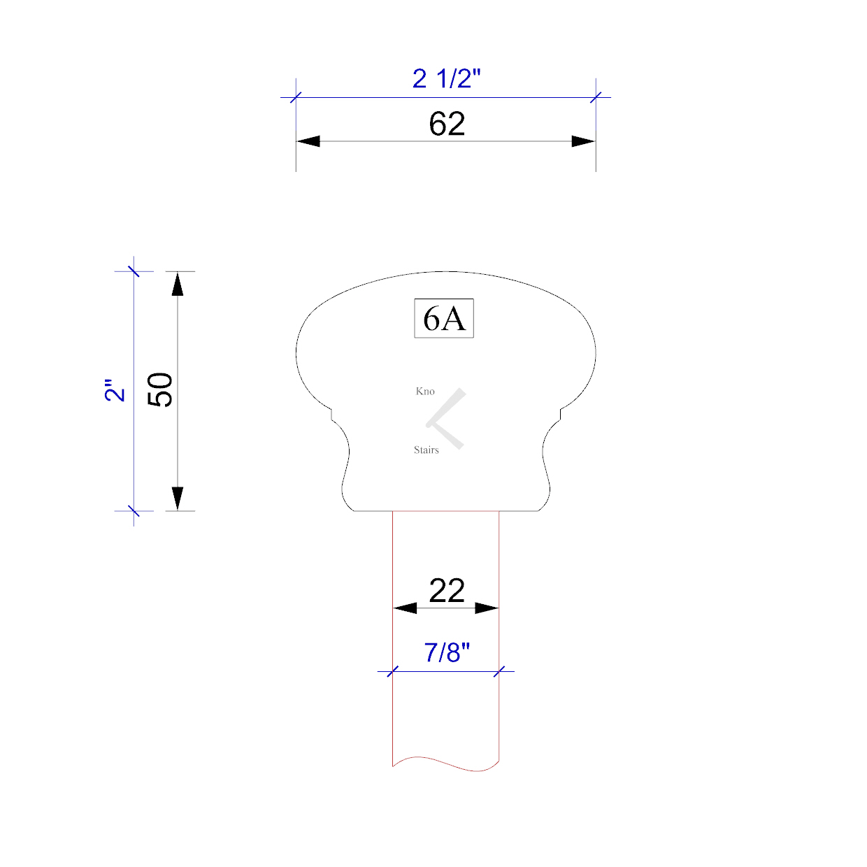 Handrail profile outline 6A 22