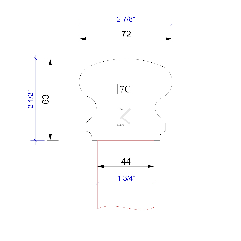 Handrail profile 7C 44