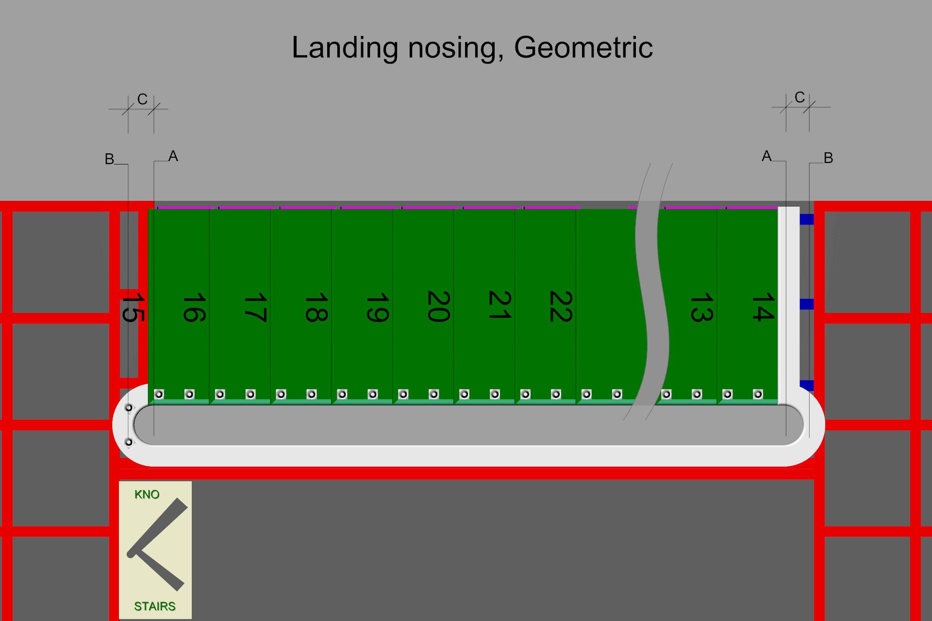 Geometric landing nosing.