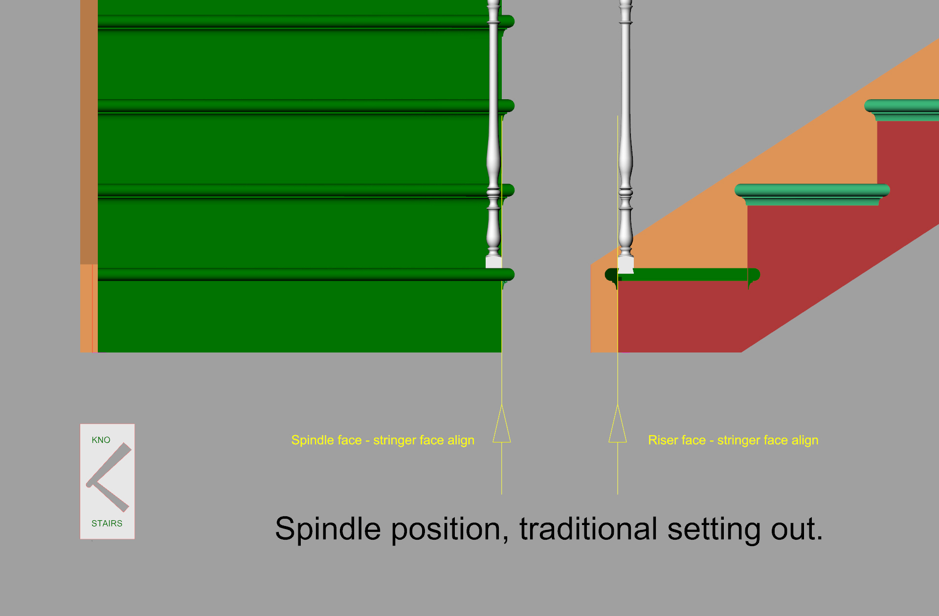 Primary spindle position, cut string stairs.