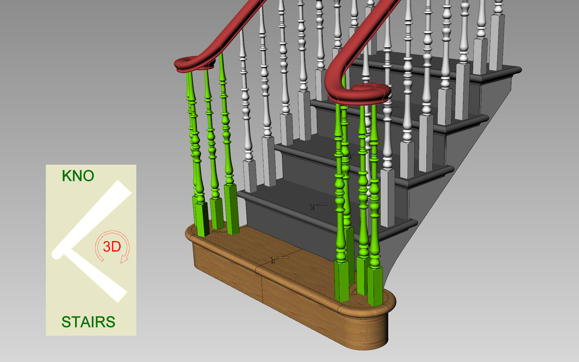 Curtail tread with Monkeys' tails over birds cage spindles3D
