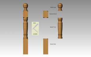 Newel post with handrail block parts.