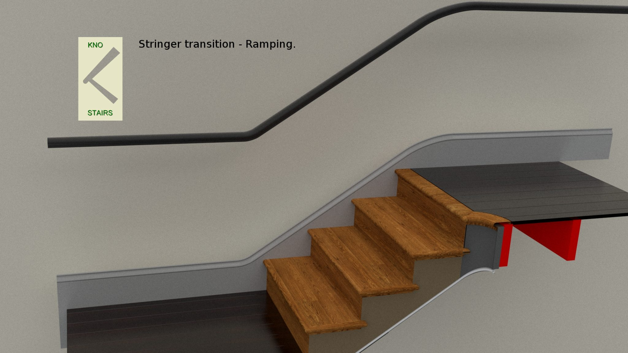 Stringer flowing into skirting.