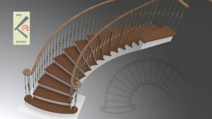 Spiral flight with commode curtail tread and fantailed stringers.