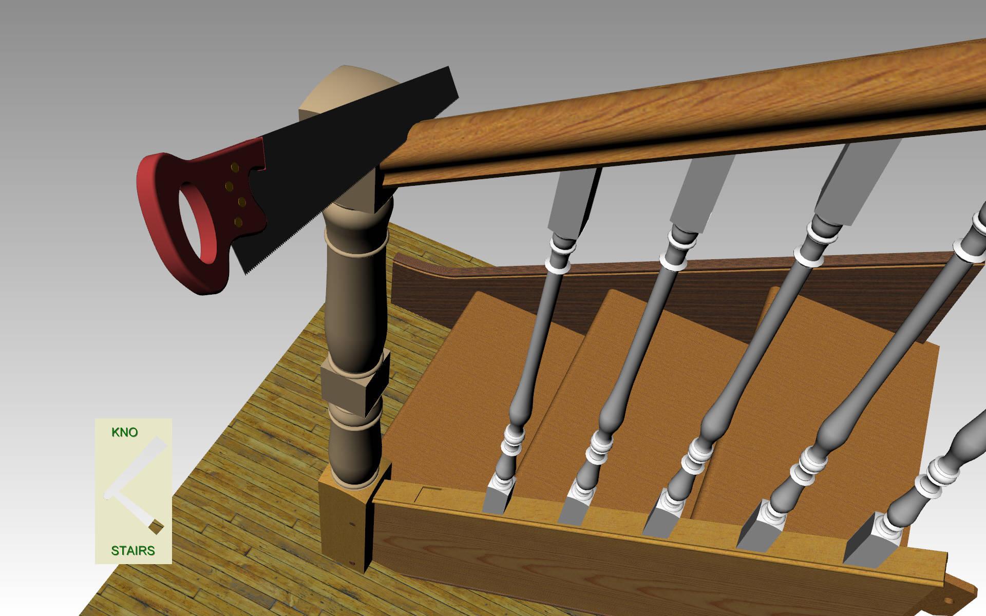 Cut handrail.