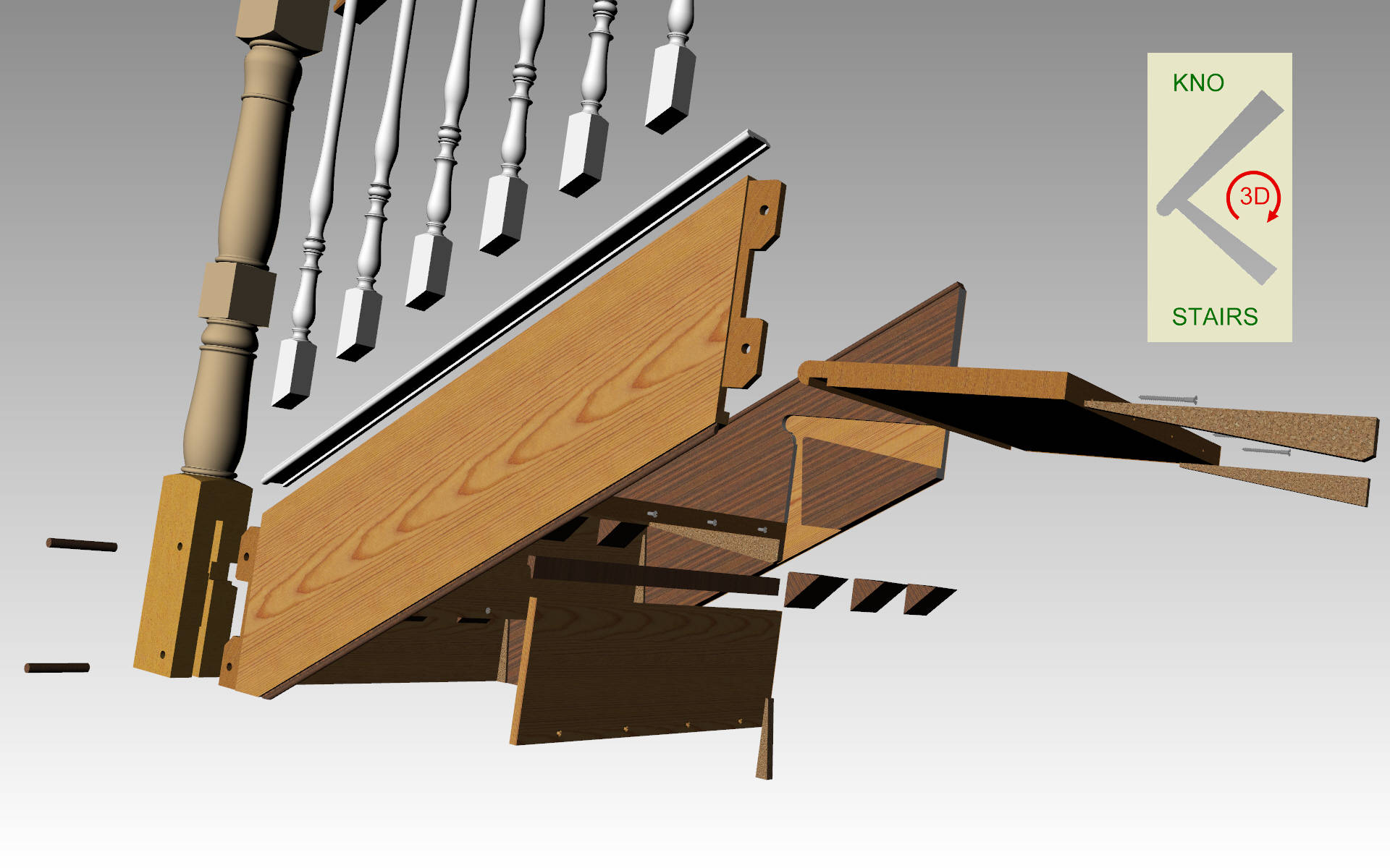 Staircase exploded view.