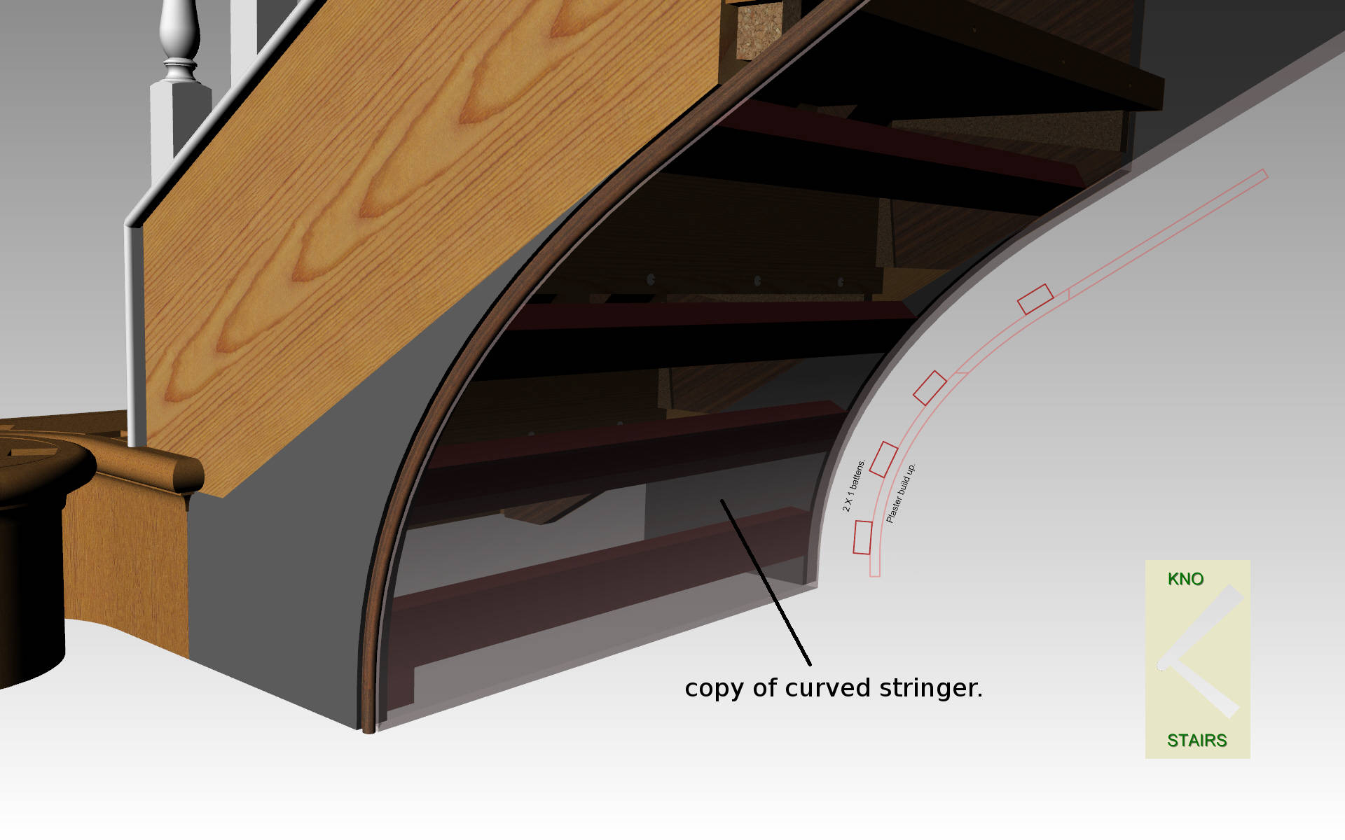 Soffit support curved stringer.