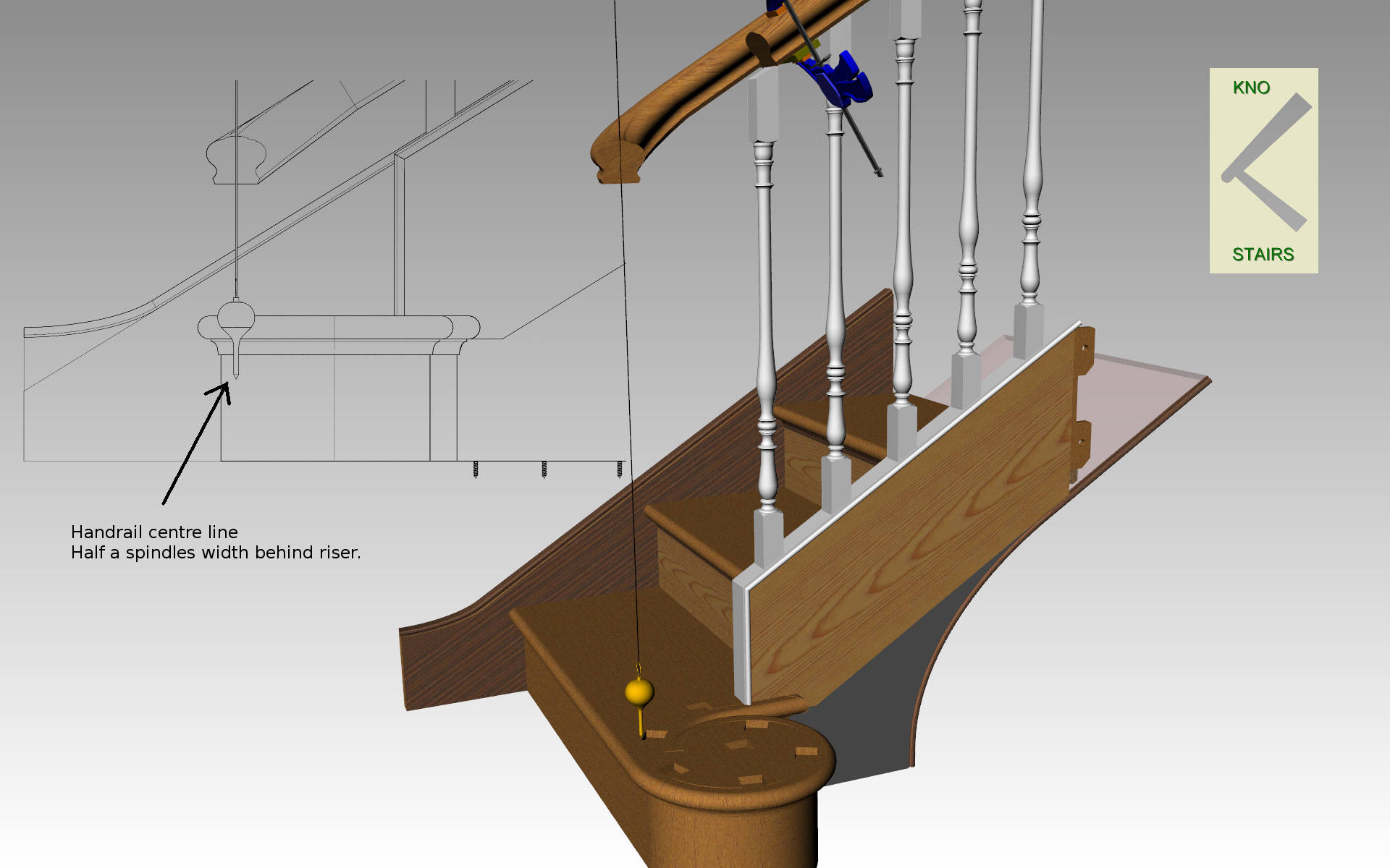 Plumb the handrail position.