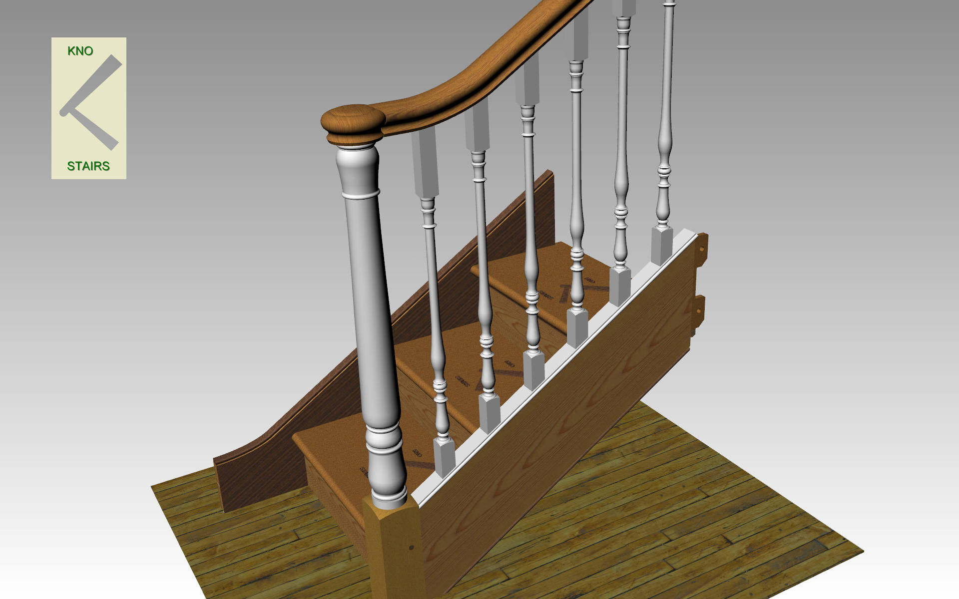 Turned newel post finish.