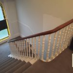 Tangent handrail on spindles.