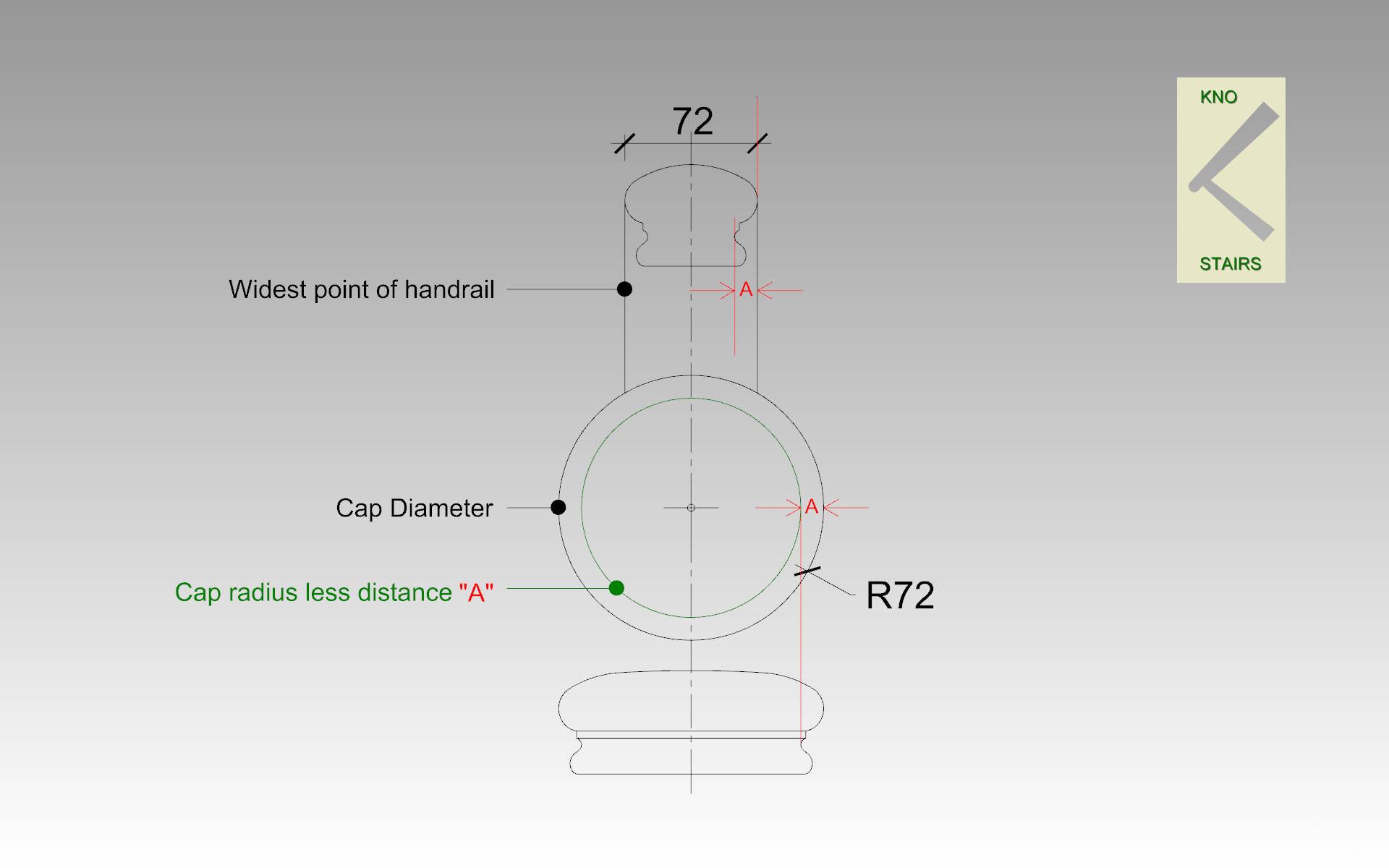 Cap inner radius.