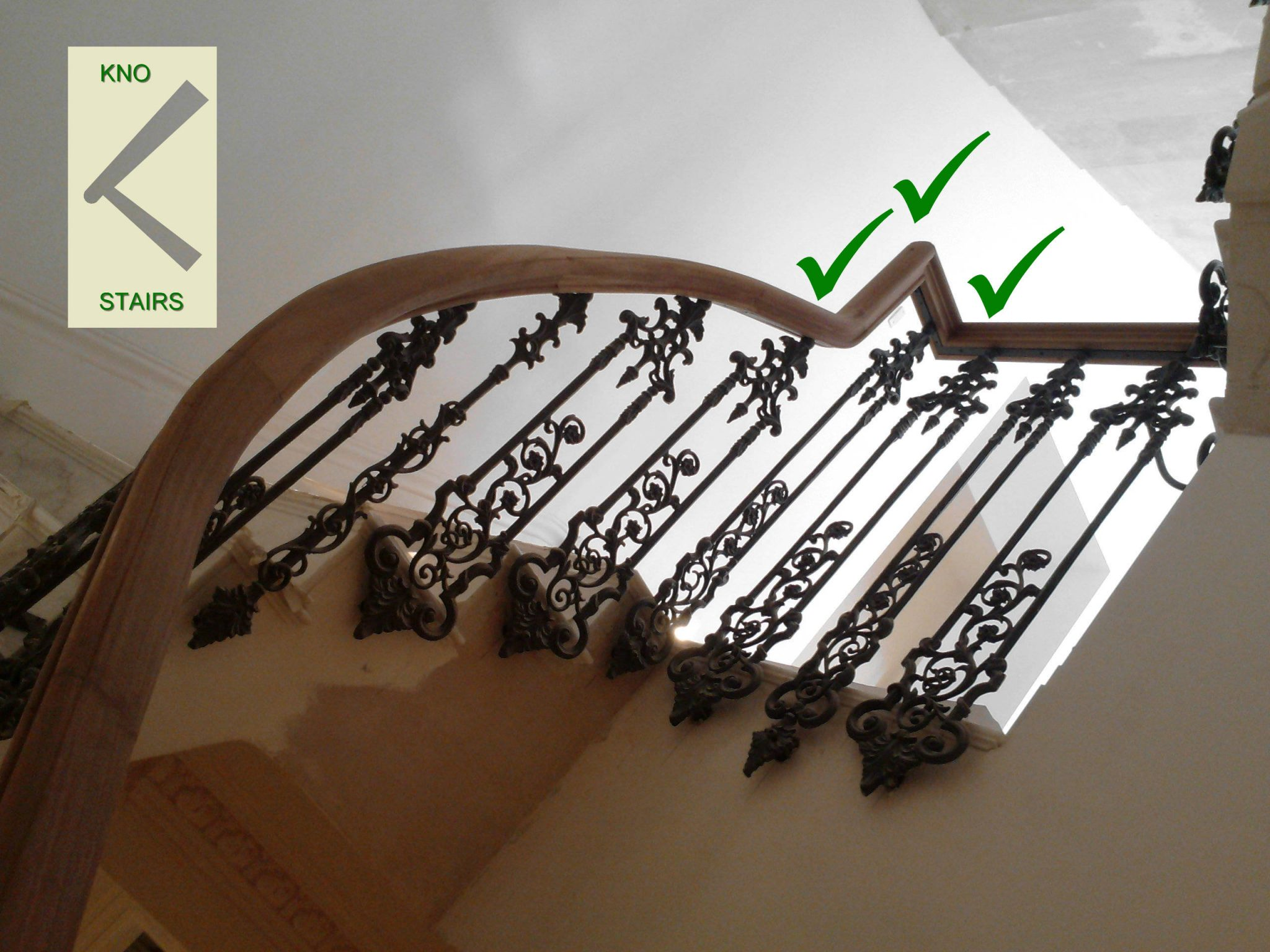 The gooseneck from below with plenty of room for handrail mitres.